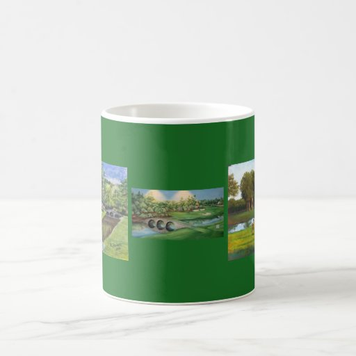 Coffee Mug with three hand painted golf images
