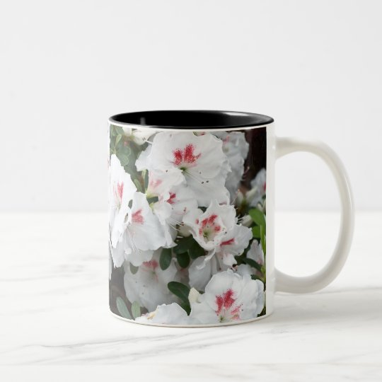 Coffee Mug with White Azalea Flower Blossoms