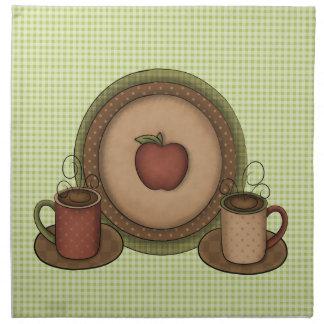 Coffee Mugs and Plate Napkin