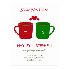 Coffee Mugs Save The Date Card