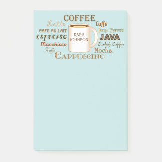 Coffee Names Personalized Aqua Post-It Notes