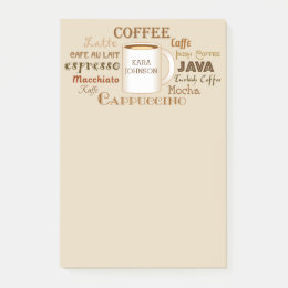Coffee Names Personalized Tan Post-It Notes