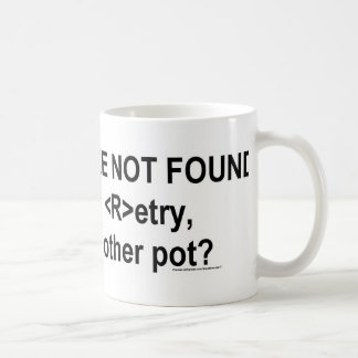 coffee not found classic white coffee mug