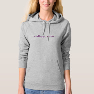 coffee. now. womens sweatshirt hoodie purple gray