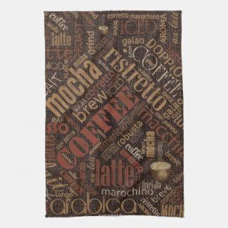 Coffee on Burlap Word Cloud Brown ID283 Hand Towel