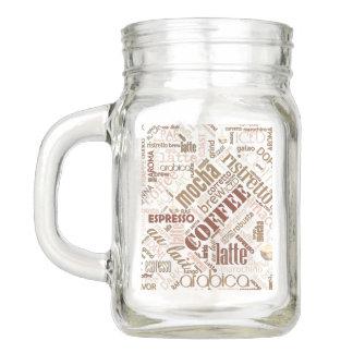 Coffee on Burlap Word Cloud Brown ID283 Mason Jar