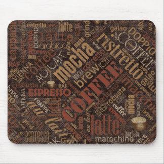 Coffee on Burlap Word Cloud Brown ID283 Mouse Pad