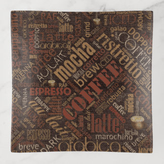 Coffee on Burlap Word Cloud Brown ID283 Trinket Trays
