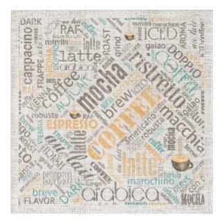 Coffee on Burlap Word Cloud Teal ID283 Acrylic Wall Art