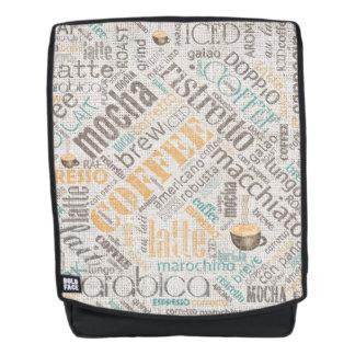 Coffee on Burlap Word Cloud Teal ID283 Backpack