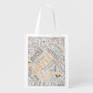 Coffee on Burlap Word Cloud Teal ID283 Grocery Bag