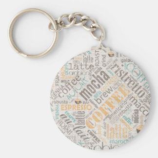 Coffee on Burlap Word Cloud Teal ID283 Keychain