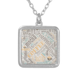 Coffee on Burlap Word Cloud Teal ID283 Silver Plated Necklace