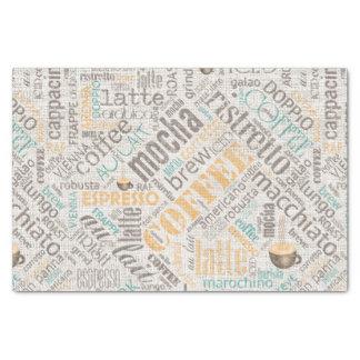 Coffee on Burlap Word Cloud Teal ID283 Tissue Paper