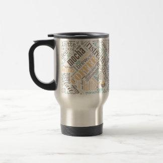Coffee on Burlap Word Cloud Teal ID283 Travel Mug