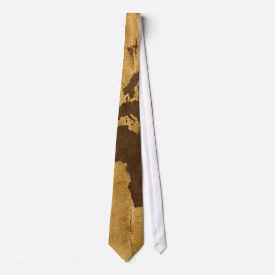 Coffee on Paper Look World Map Neck Tie