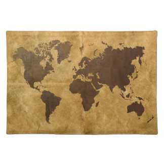 Coffee on Paper Look World Map Placemat