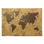 Coffee on Paper Look World Map Placemats