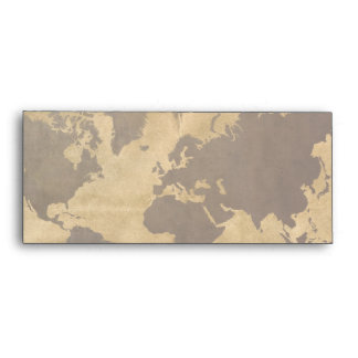 Coffee on Paper Style World Map Envelope