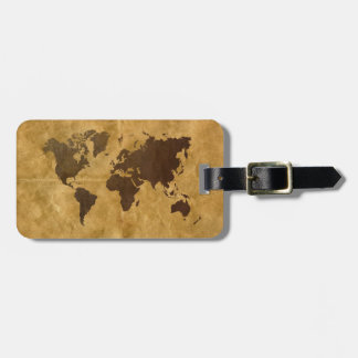 Coffee on Paper Style World Map Luggage Tags