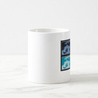 coffee or tea mug with blue squares