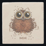 """Coffee Owl custom monogram stone coasters<br><div class=""""desc"""">See my store for more items with this image.</div>"""