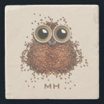 "Coffee Owl custom monogram stone coasters<br><div class=""desc"">See my store for more items with this image.</div>"