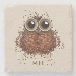 Coffee Owl custom monogram stone coasters