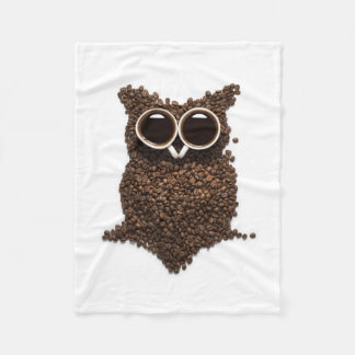 Coffee Owl Fleece Blanket