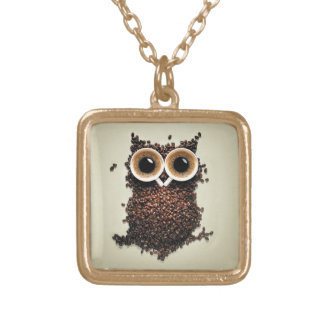Coffee Owl Gold Plated Necklace
