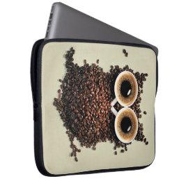 Coffee Owl Laptop Computer Sleeves
