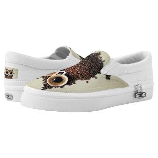 Coffee Owl Slip-On Sneakers