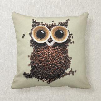 Coffee Owl Throw Pillow