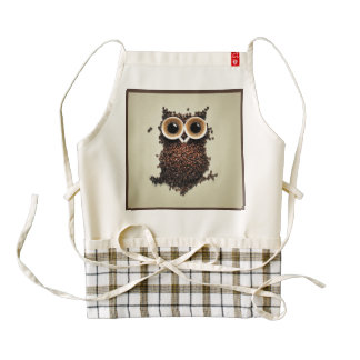 Coffee Owl Zazzle HEART Apron