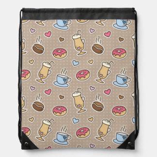 Coffee pattern drawstring bag