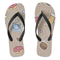 Coffee pattern flip flops