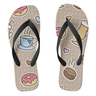 Coffee pattern flip flops