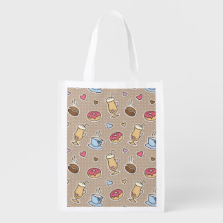 Coffee pattern reusable grocery bags