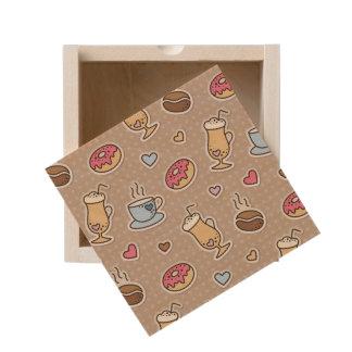Coffee pattern wooden keepsake box