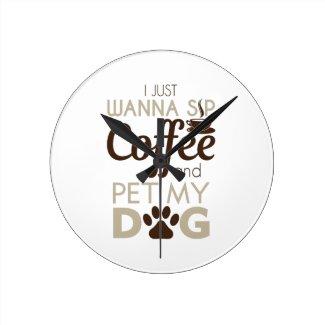 Coffee Pet My Dog Round Clock