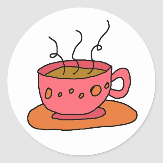 coffee pink and orange get you a cup classic round sticker