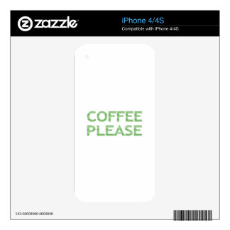 COFFEE PLEASE - strips - green and white. Skins For The iPhone 4
