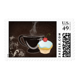 Coffee Postage Stamp Cupcake Blue Sticker