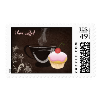 Coffee Postage Stamp Cupcake Pink Sticker