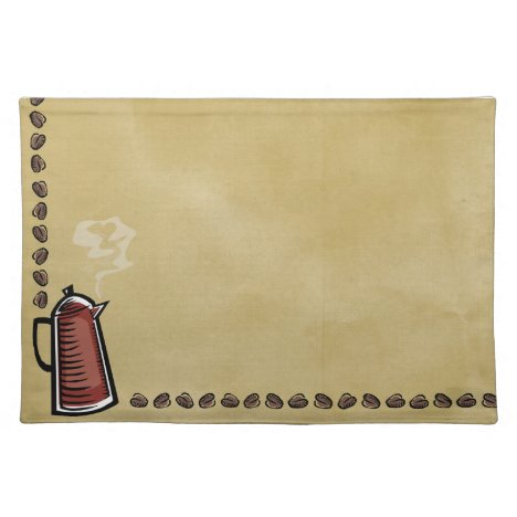 Coffee Pot and Beans Cloth Placemat