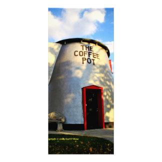 Coffee pot building rack card