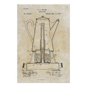 Coffee Themed Coffee Pot Patent Print Poster 1885