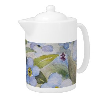 COFFEE POT with Forget me not watercolor design. teapot
