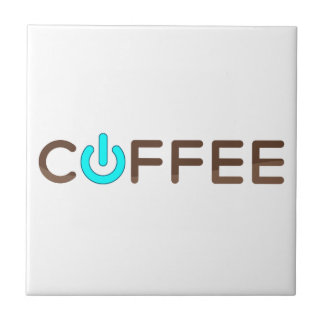 Coffee Power (Blue) Small Square Tile
