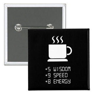 Coffee Power Up 2 Inch Square Button